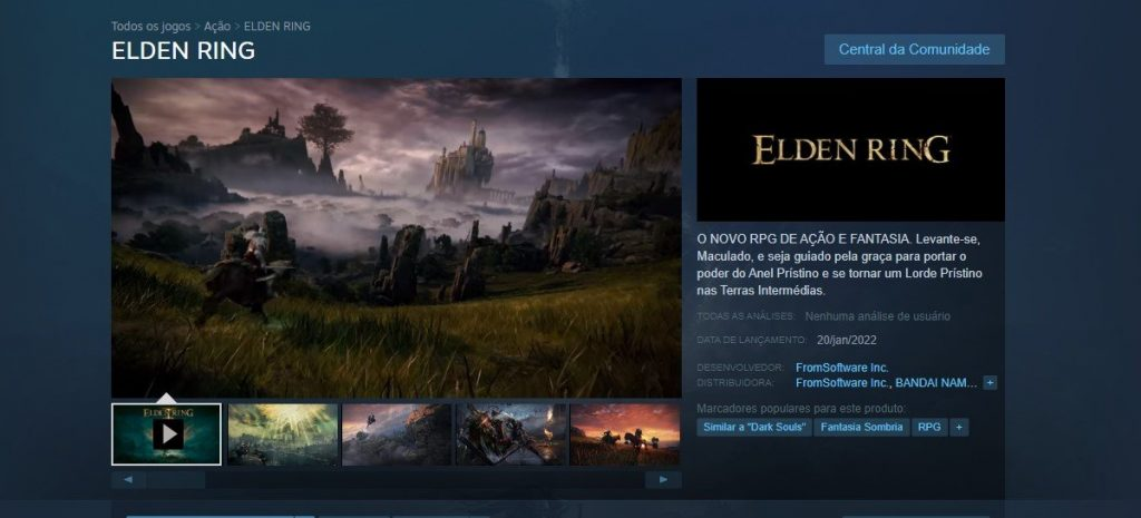 Elden Ring Steam Page Goes Live