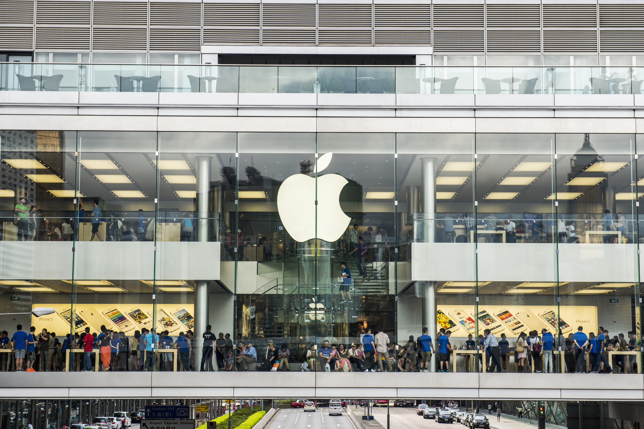 Customers in the Apple Store, Hong Kong