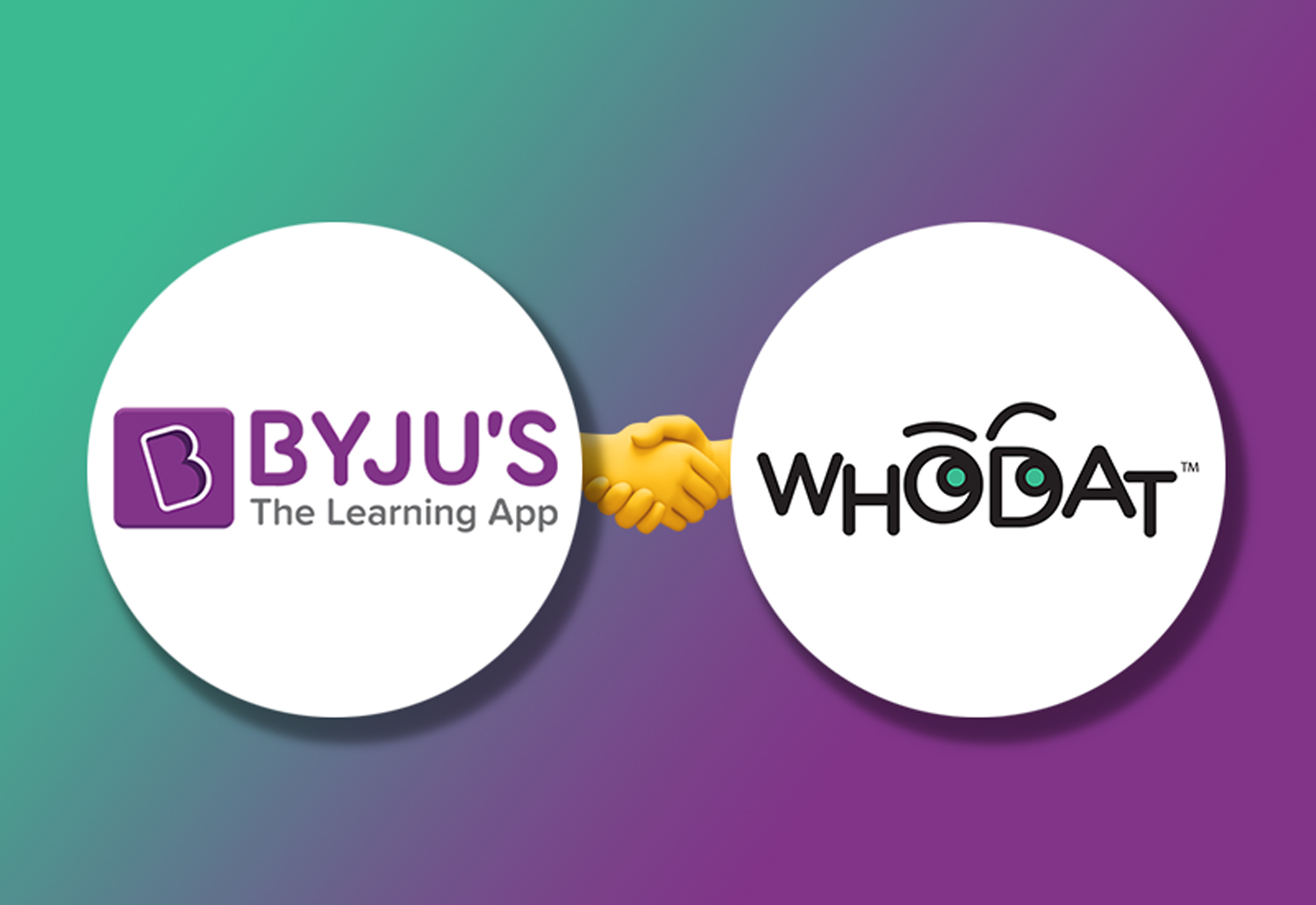 Logo of Byju's and Whodat on Gradient background