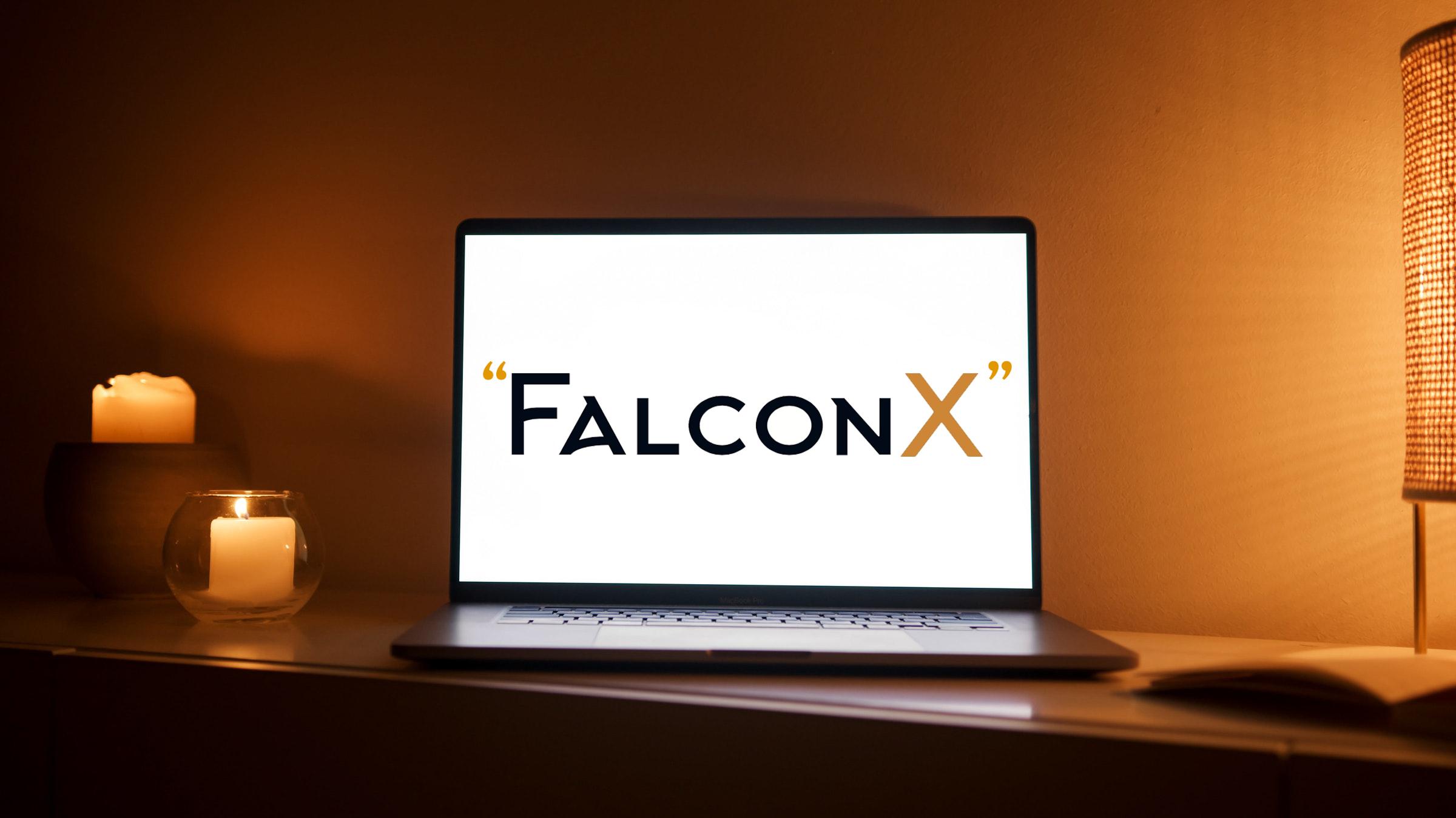 Crypto Platform FalconX logo on Laptop with nice ambiance