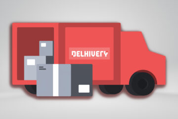 Delhivery logistics truck mockup image