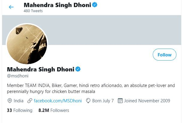 Dhoni's account just after his Blue Tick was restored