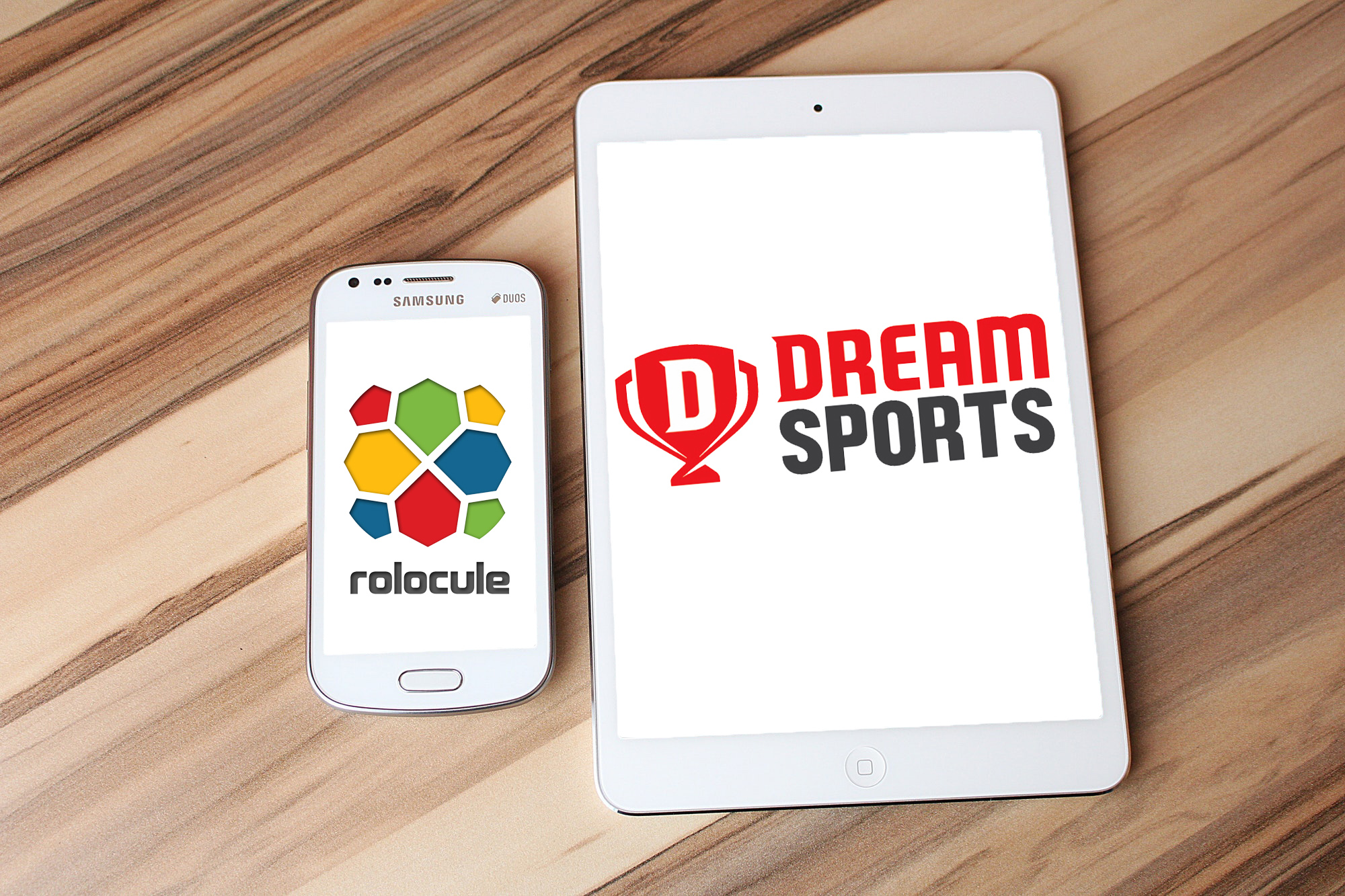 Dream Sports, Rolocule Games logo on White Ipad and Samsung Smartphone