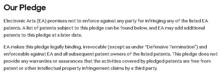 EA Patent Pledge