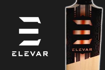 Elevar Cricket Bat with Elevar Logo on black background