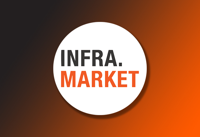 Infra.Market logo on Gradient Background