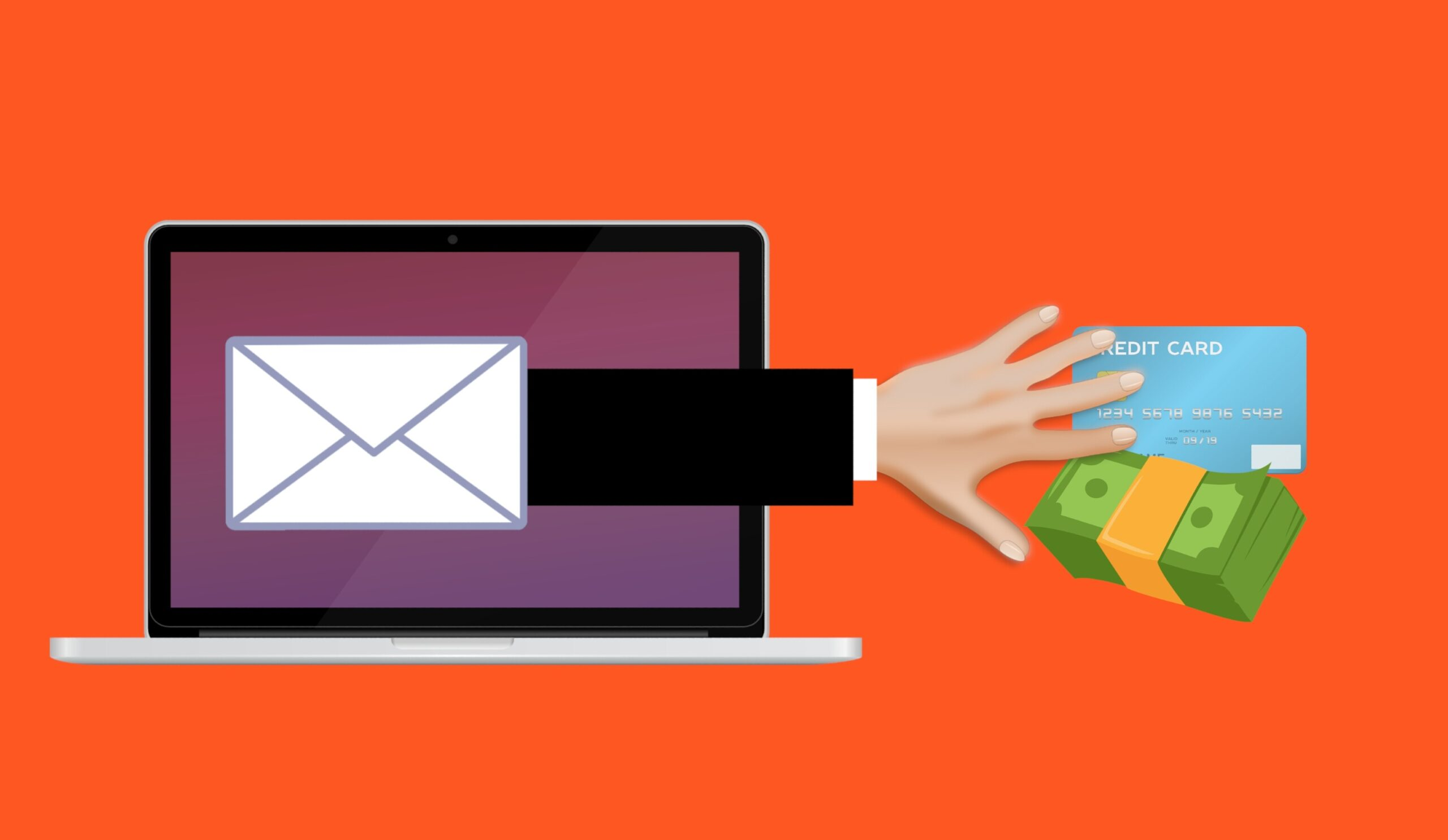 Image illustrating Scam Phishing Fraud Email Attack Mail Online