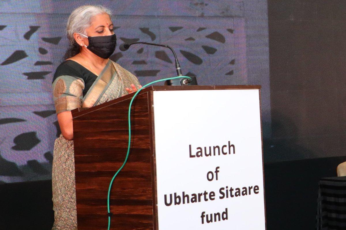 Nirmala Sitharaman on podium during 'Ubharte Sitaare Fund' speech