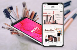 Nykaa Logo and App screenshot on cosmetic background