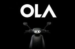 Ola Electric Black color scooter on black background