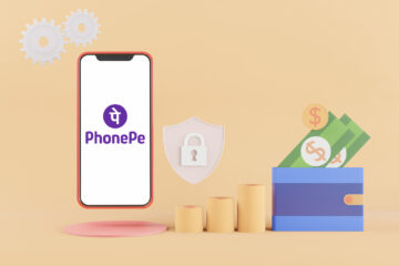 PhonePe logo displayed on a smartphone with bank security concept in background