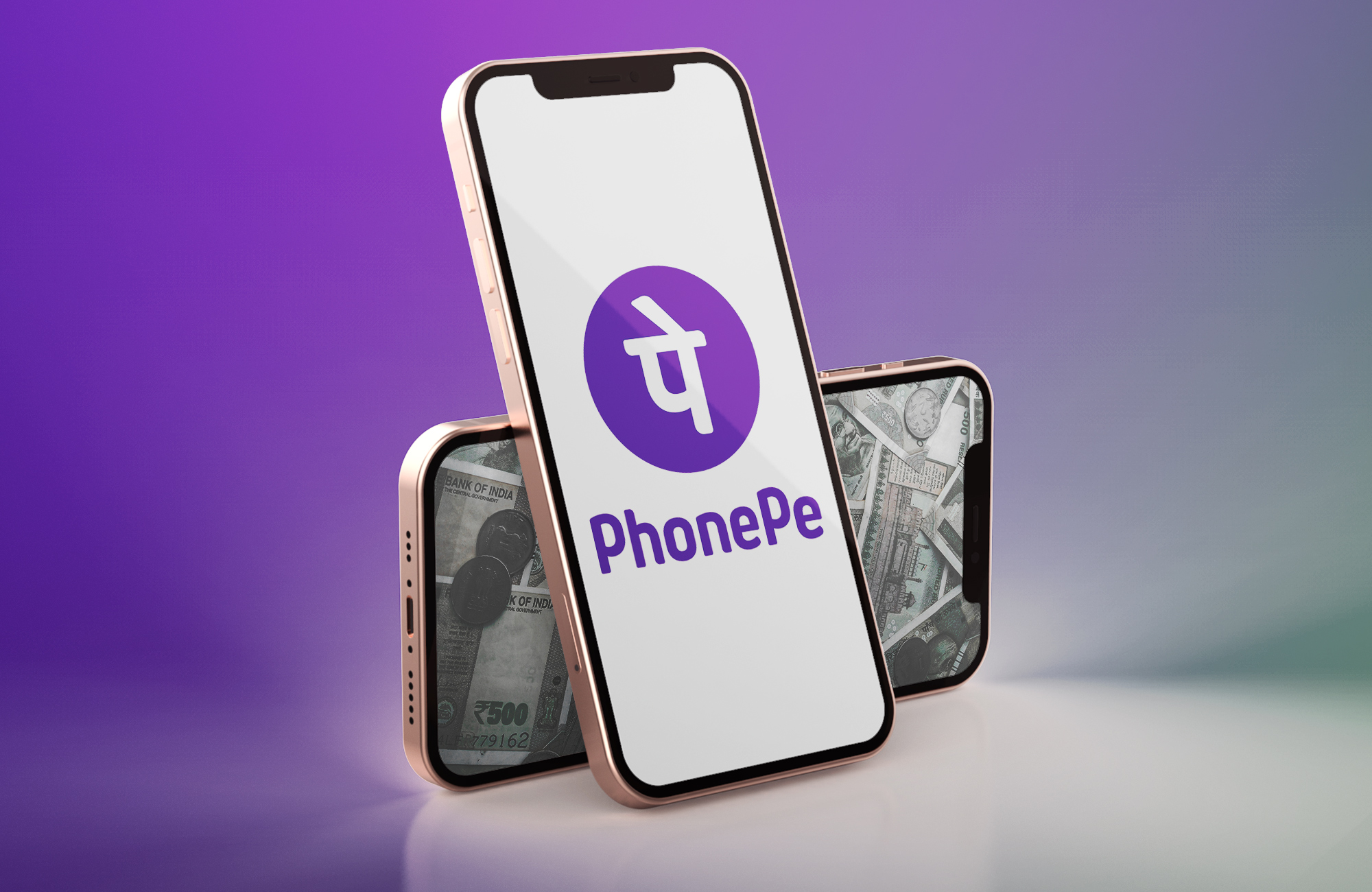 PhonePe logo displayed on Red and gold iPhone 12