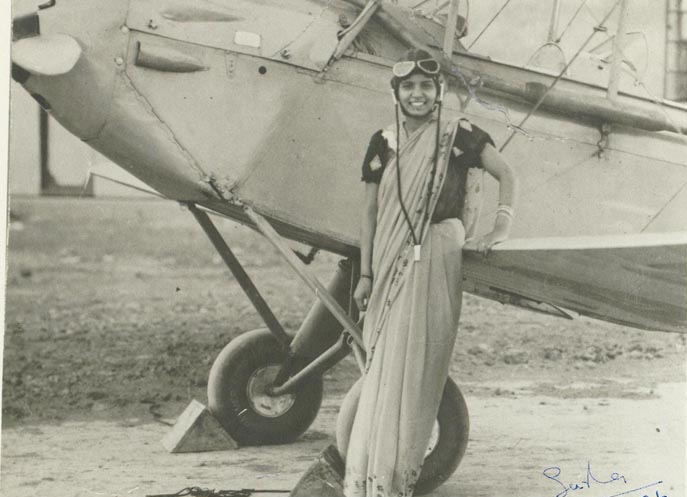 Image of Sarla Thakral - the first Indian woman to acquire a pilots license. At the time, she was 21 years old