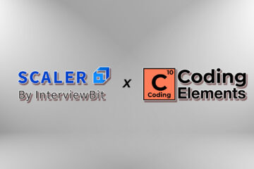 Logo of Scaler Academy and Coding Elements on blur grey color gradient background