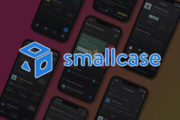 Smallcase App mockup screenshots with Smallcase Logo