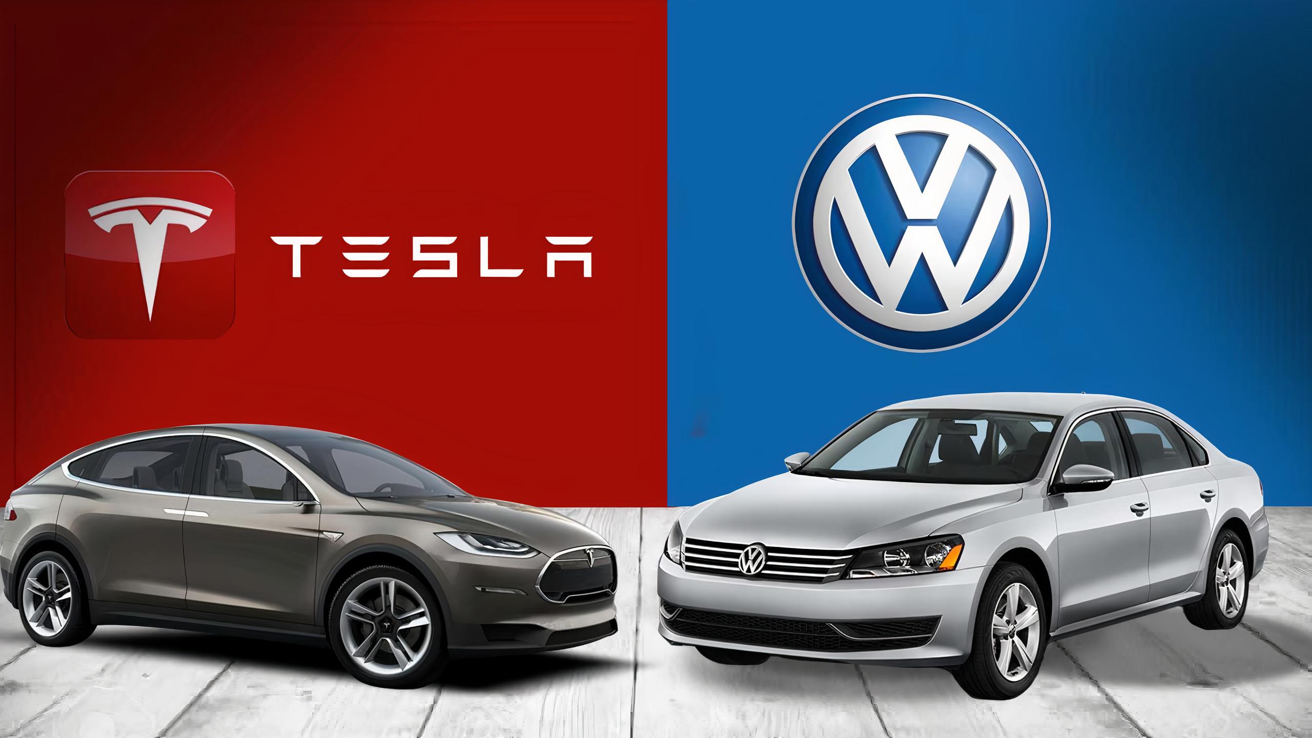 Volkswagen and Tesla car in one frame