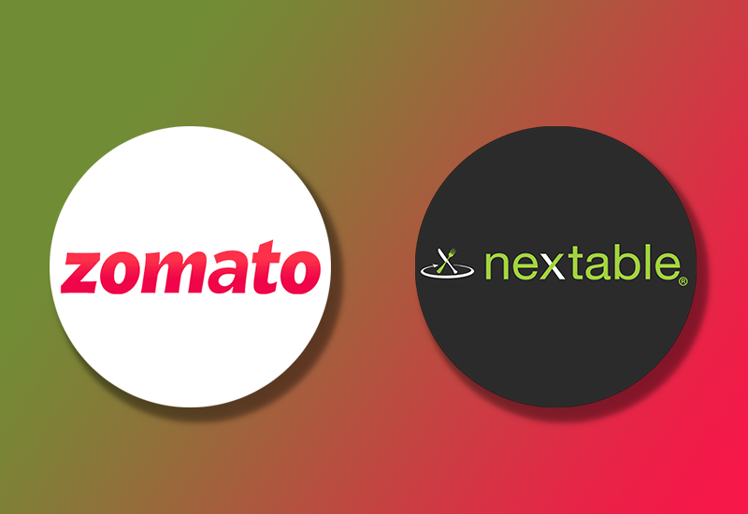 Logo of Zomato and Nextable on a Gradient background