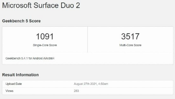 Microsoft Surface Duo 2 -Geekbench Scores
