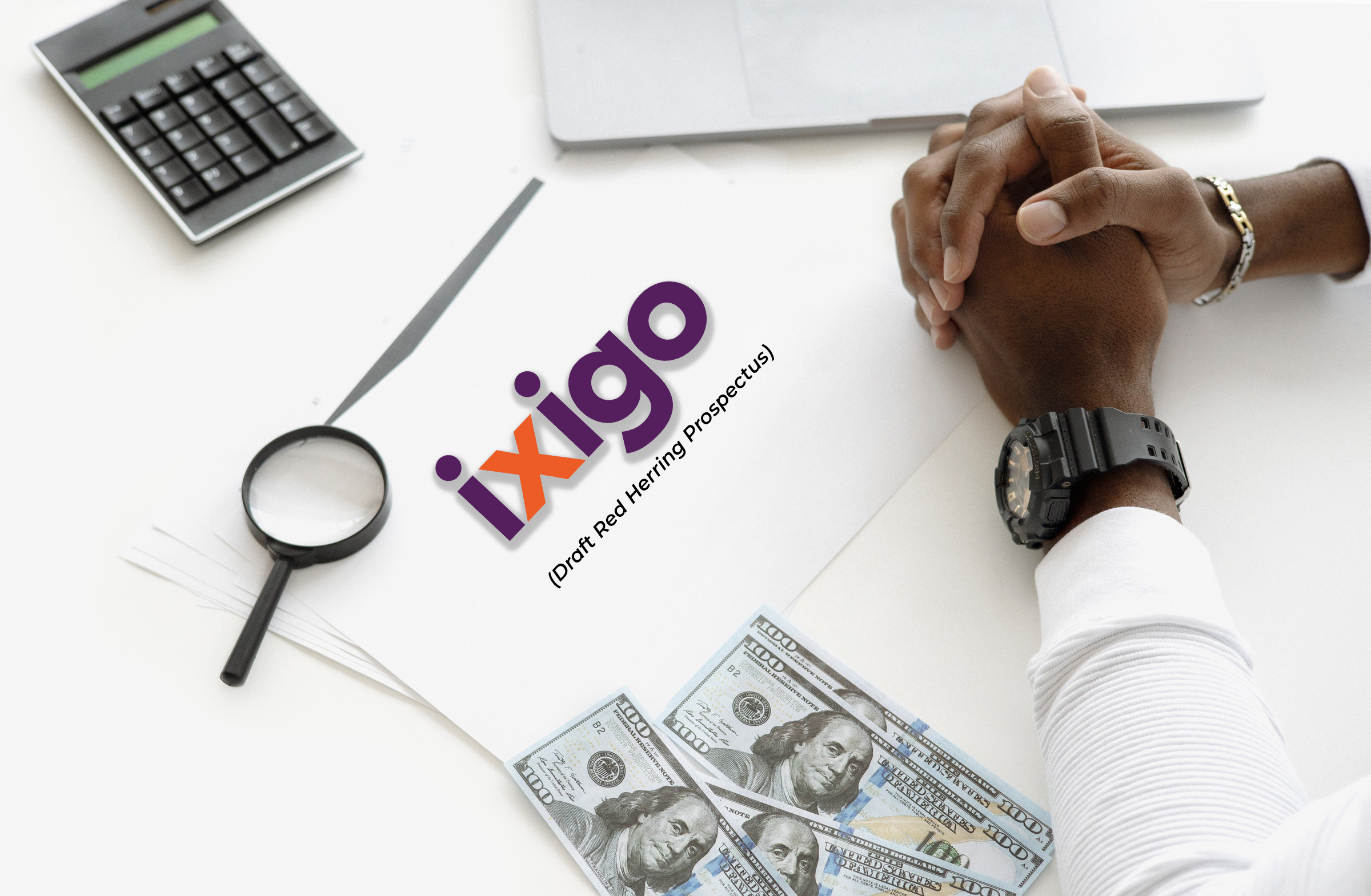 Image representing a Person's hands, pen, glass and a paper representing Ixigo IPO draft papers