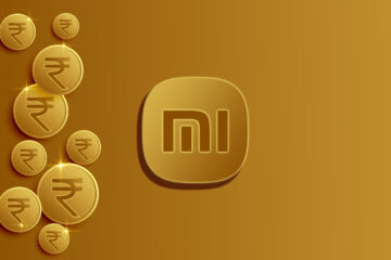 Indian rupee coins background with Xiaomi Logo