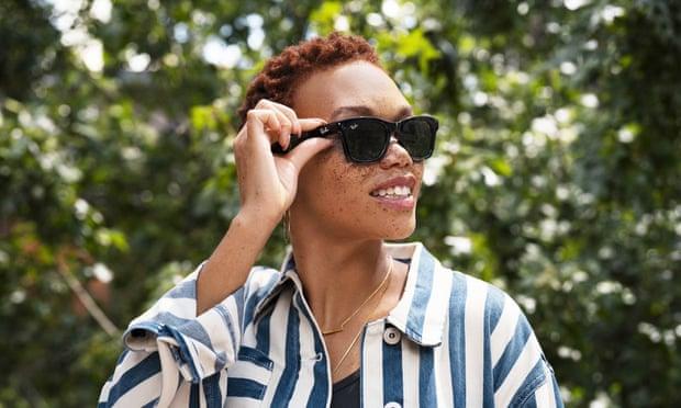 Facebook and Ray-Ban's new smart glasses are only five grams heavier than a normal pair of Wayfarers. Photograph: PR Image/Ray Ban