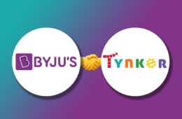 Logo of Byju's and Tynker on Gradient background