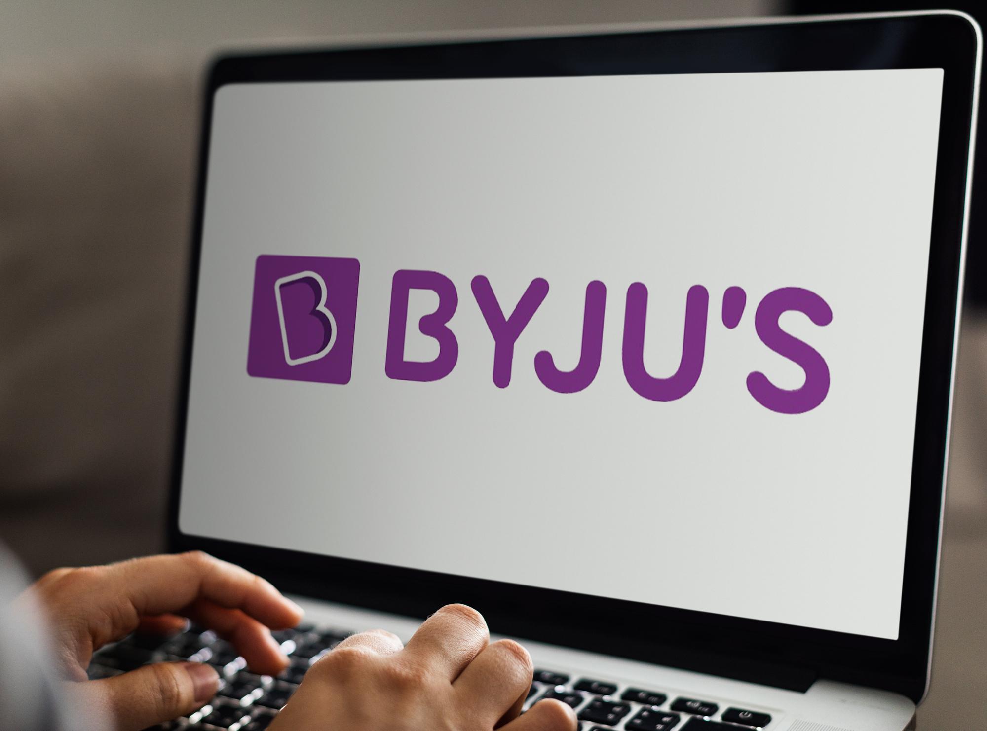 Byju's logo on laptop screen