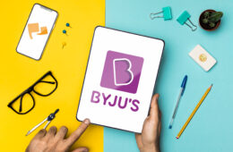 Top view desk arrangement with Byju's Tablet