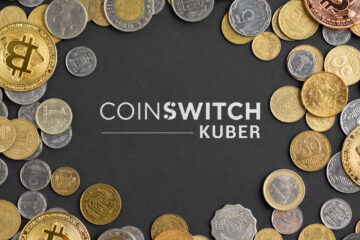 CoinSwitch Kuber logo on Colorful cryptocurrency background