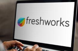 Freshworks logo on laptop screen