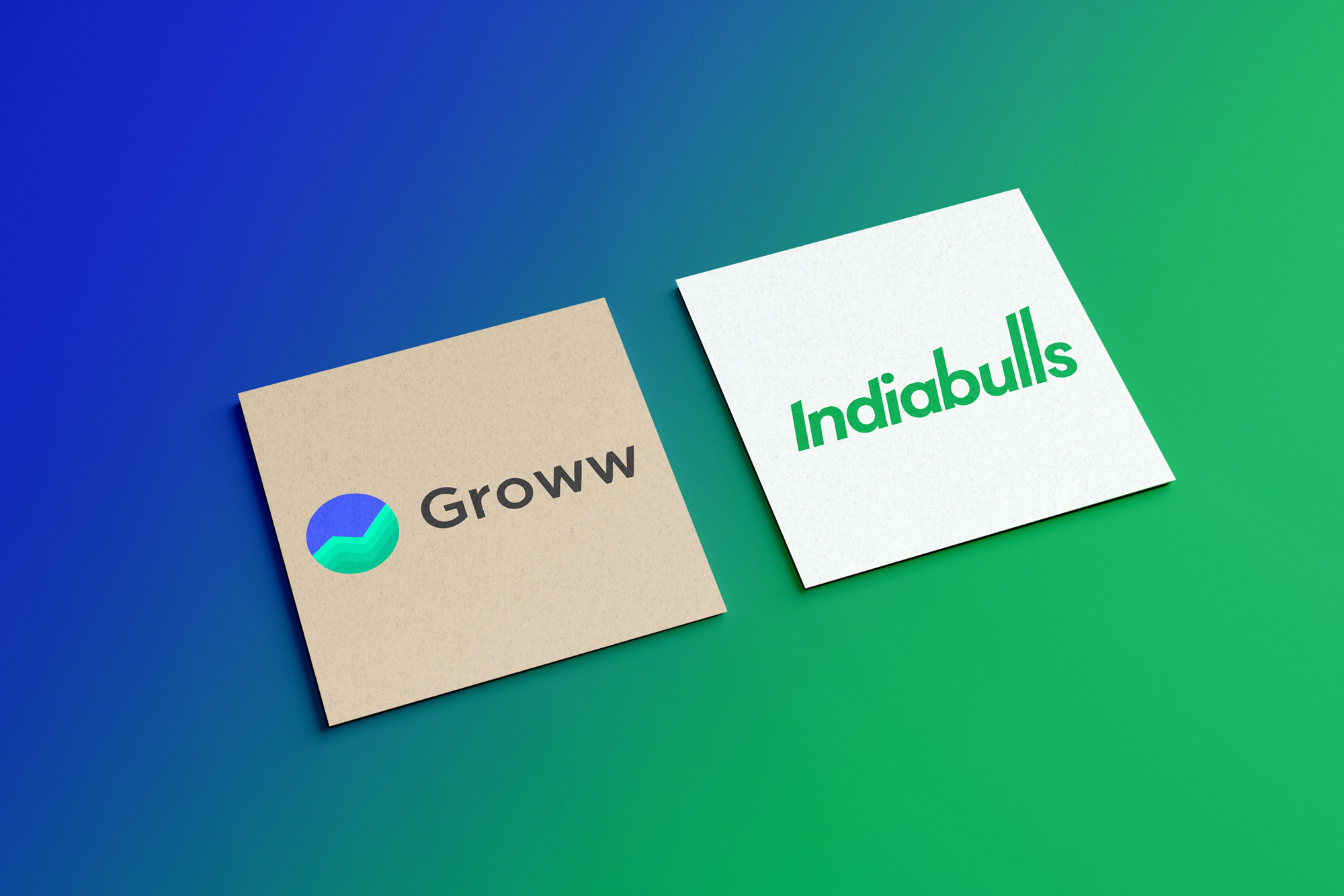 Groww and Indiabulls logo on square card