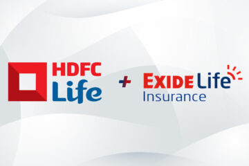 HDFC Life and Exide Life Insurance logo on White abstract