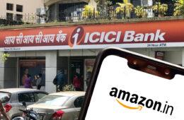 Amazon India logo displayed on Smartphone outside ICICI Bank Nerul Branch