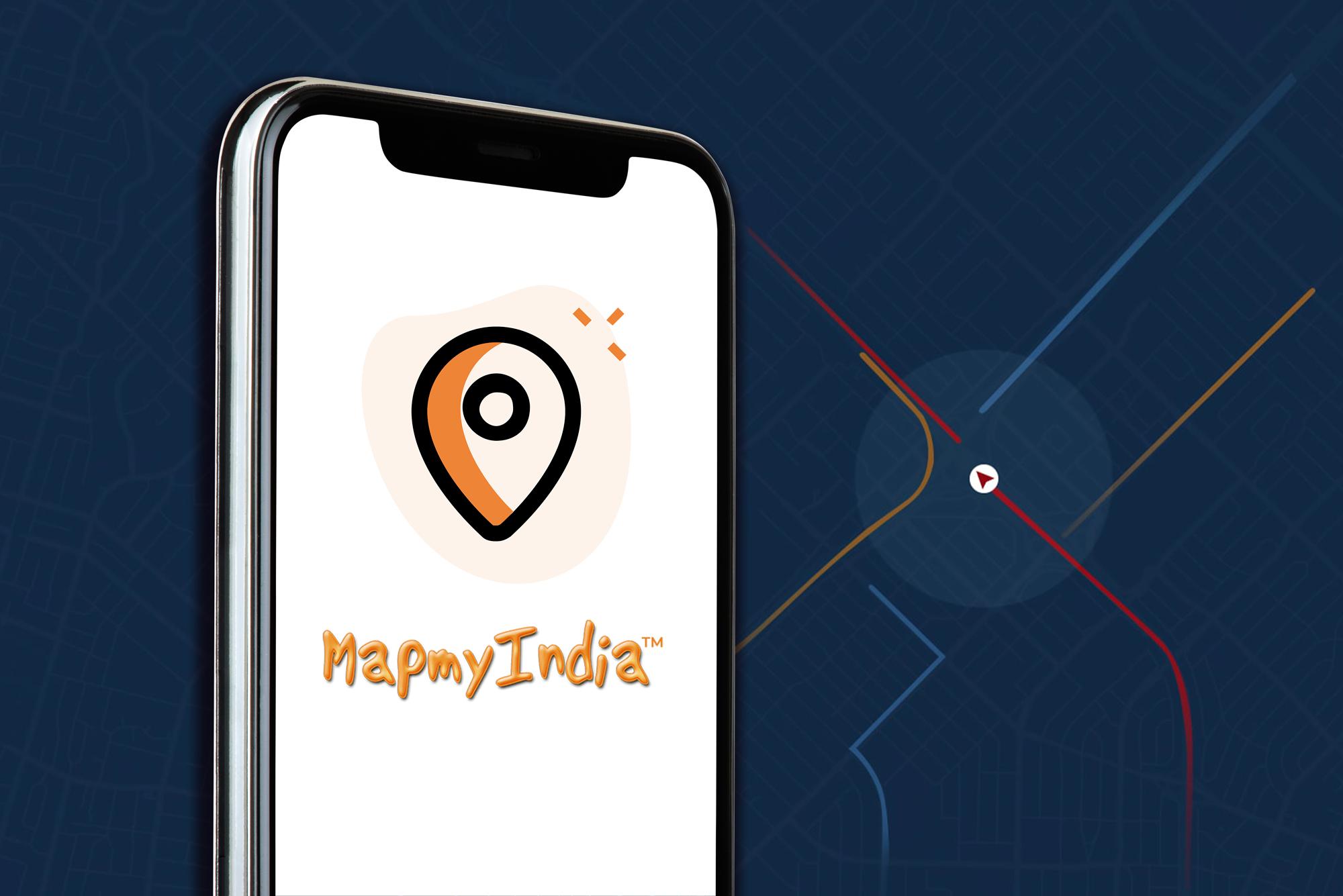 MapMyIndia logo displayed on a smartphone