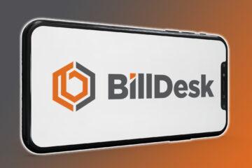 BillDesk logo displayed on a smartphone