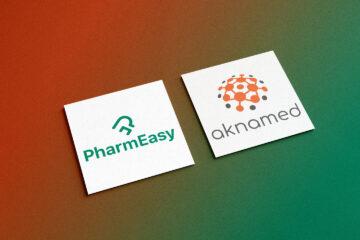 PharmEasy and Aknamed logo on square card