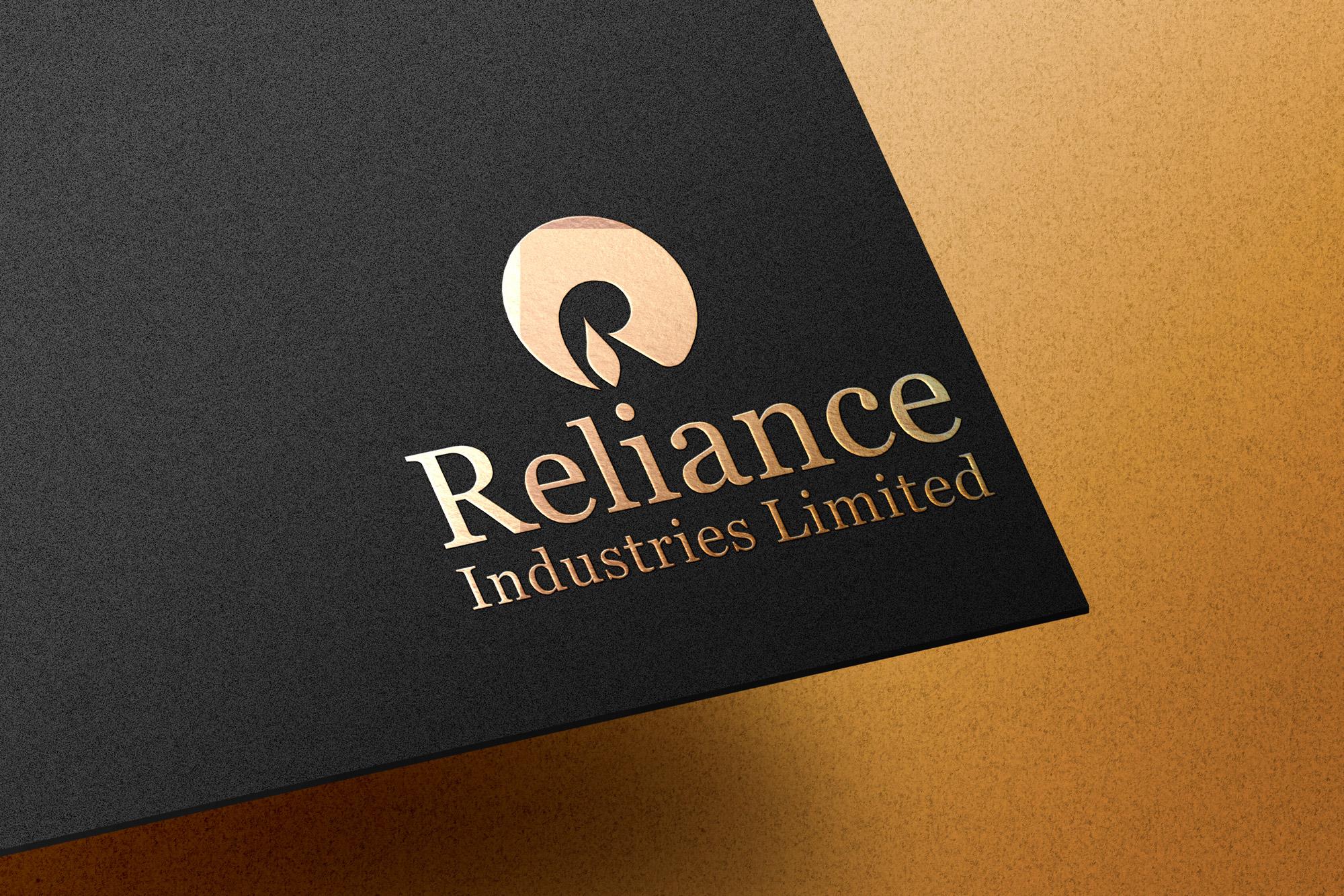 Embossed golden logo Reliance Industries