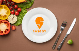 Swiggy logo on plate and cutlery with organic vegetables background
