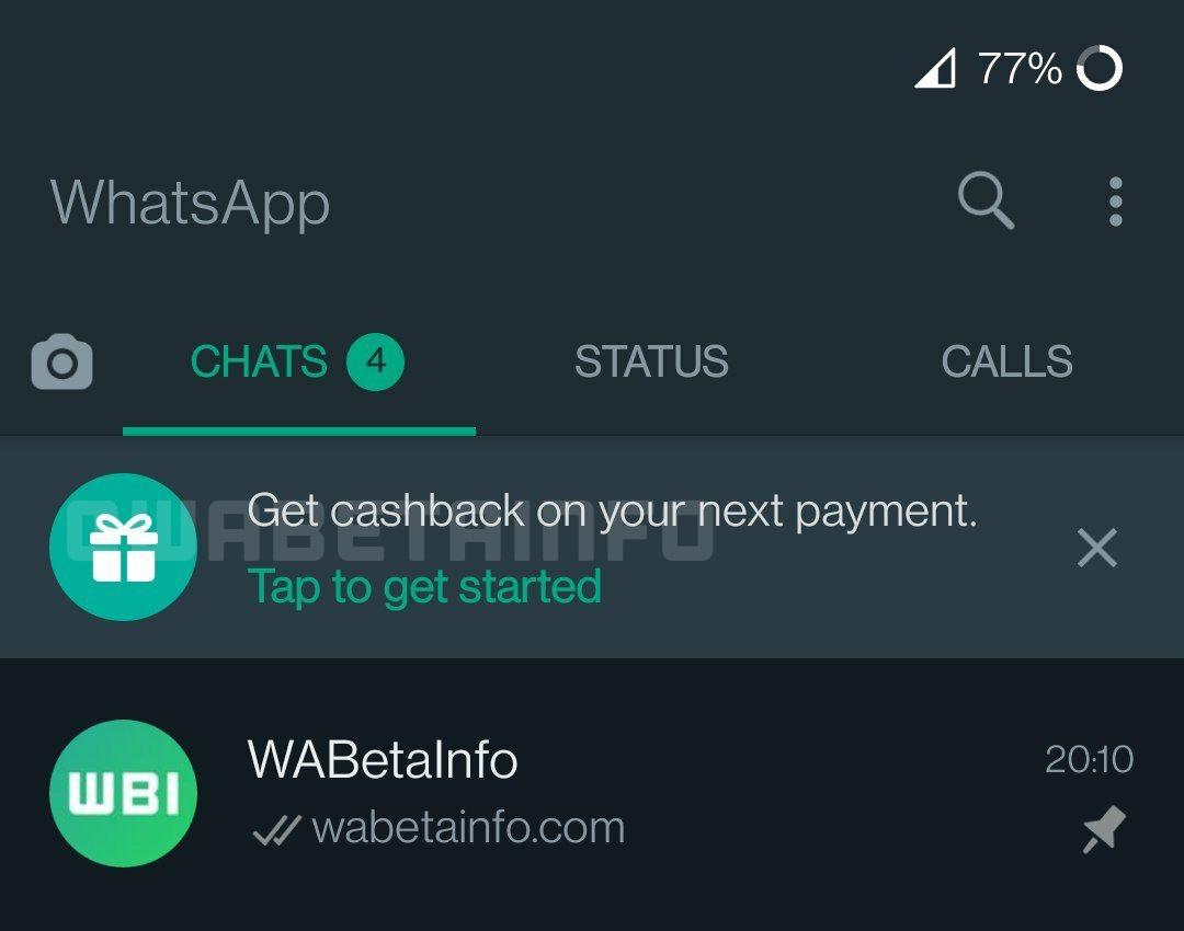 WhatsApp Cashback feature screenshot