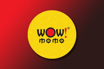 Wow! Momo official logo on a gradient background
