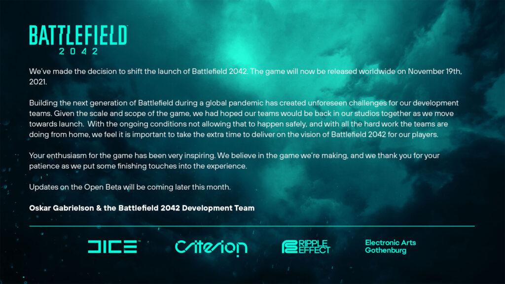 Battlefield 2042 Delayed