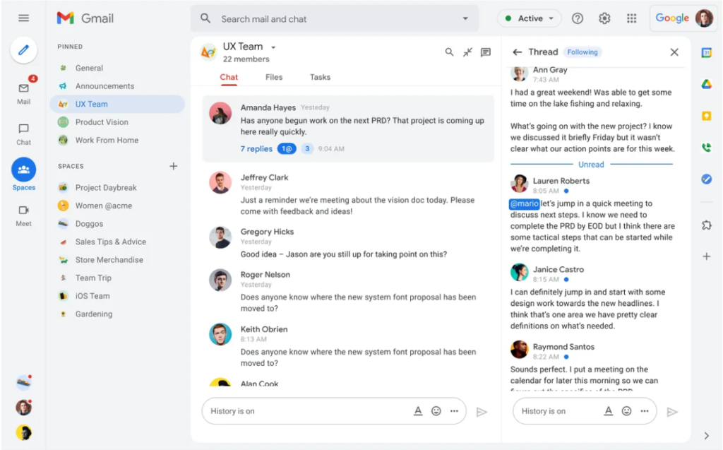 The new Gmail design, with Google Spaces. Image: Google