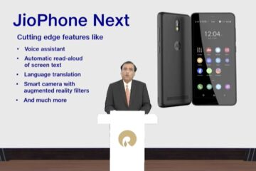 Mukesh Ambani, India's richest man and the chairman of Reliance Industries, which operates Jio Platforms, unveiling JioPhone Next at an event in June this year Image Credits: Jio Platforms