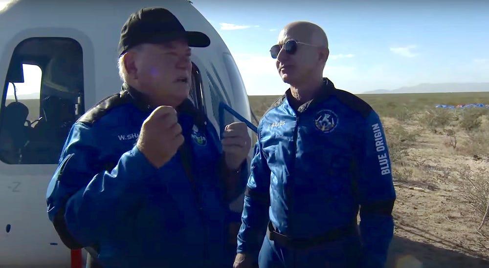 Jeff Bezos cut off emotional William Shatner with champagne spray ...