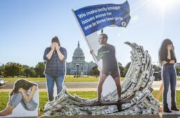 A protest organised by the SumOfUs group outside the US Capitol depicting Facebook CEO Mark Zuckerberg on 30 September