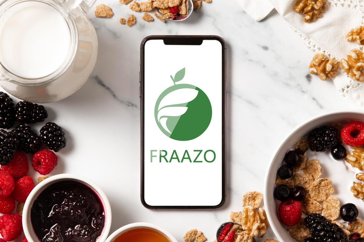 Fraazo logo displayed on a smartphone