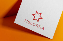 Melorra embossed on craft paper