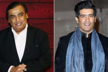 Mukesh Ambani (L) and Manish Malhotra