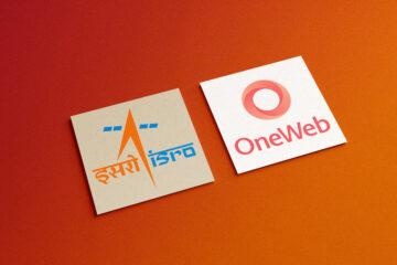 ISRO and OneWeb logo on square card