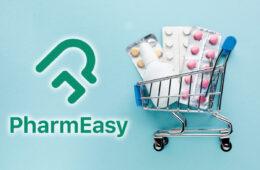 PharmEasy alongside medical supplies inside shopping cart